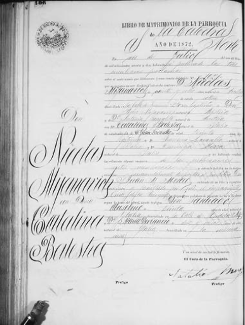 Acta de Matrimonio de Nicolás Mihanovich con Catalina Balestra, en 1872: él era cinco años menor que ella, pero declaraba ser mayor, probablemente, para acortar esa brecha. Fuente: Archivo General de la Nación